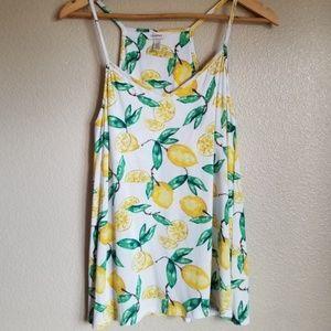 soma lemon print white camisole top size m
